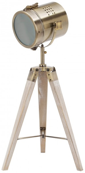 Stehlampe aus Metall - Stativbeine aus Holz - Industrial Design - 65 cm hoch - Messing Schwarz