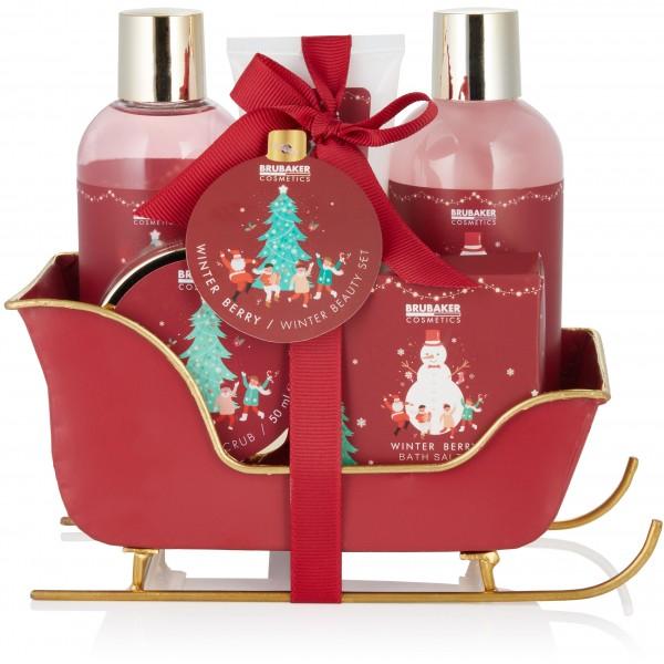 6-tlg. Weihnachts Beauty Set - Winter Berry Duft - im Schlitten