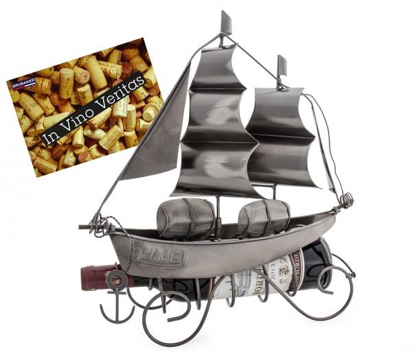 BRUBAKER Flaschenhalter Segelschiff Metall Skulptur mit Geschenkkarte