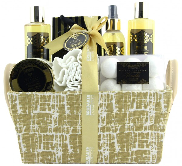 """14-teiliges Bade- und Dusch Set """"Vanilla Golden Paradies"""" - Vanille Rosen Minze Duft - Geschenkset"""