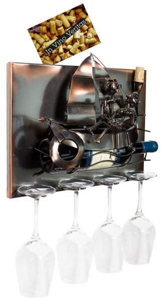 BRUBAKER Wand Flaschenhalter Segelboot mit Liebespaar - Deko-Objekt für Wein aus Metal