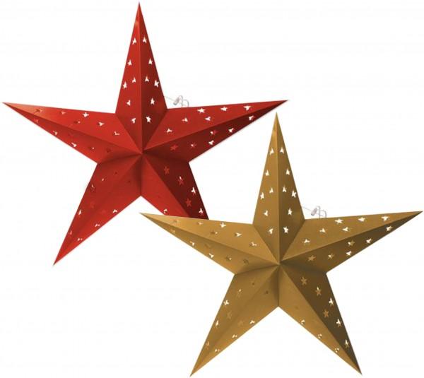BRUBAKER Falt Weihnachtssterne LED, Fotokarton mit Stern Ausschnitten, 60 cm Ø, Rot und Gold, Doppel