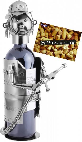 BRUBAKER Flaschenhalter Feuerwehrmann Metall Skulptur mit Geschenkkarte