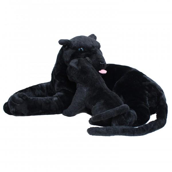 BRUBAKER Stofftier Plüschtier Panther mit Baby Schwarz 100 cm