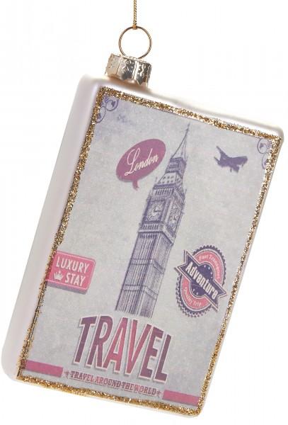 Reiseziel London Karte - Handbemalte Weihnachtskugel aus Glas – Mundgeblasene Baumkugel - 10 cm