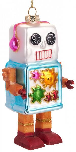 Roboter - Handbemalte Weihnachtskugel aus Glas - Mundgeblasener Christbaumschmuck Baumkugel - 12,5 c