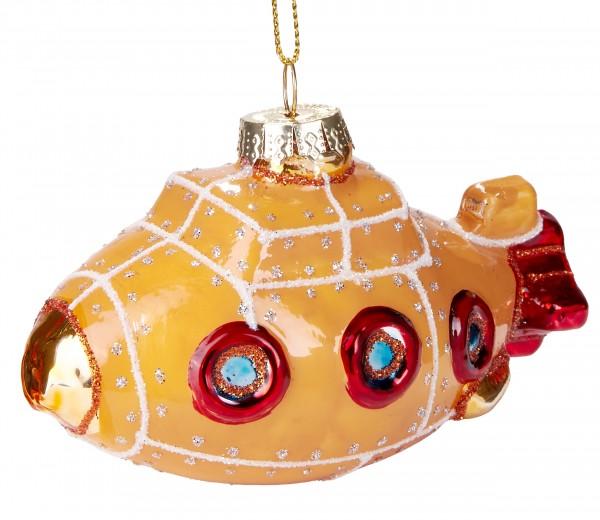 U-Boot - Handbemalte Weihnachtskugel aus Glas - Mundgeblasener Christbaumschmuck - 10.5 cm