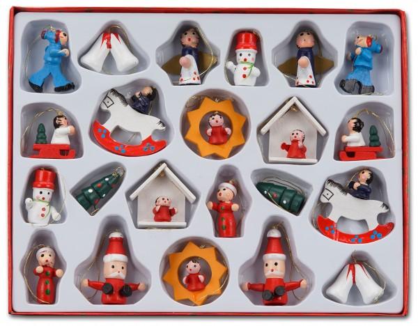 22 tlg. Set Weihnachtsbaumschmuck aus Holz - Bis zu 4 cm große Figuren - Handbemalt