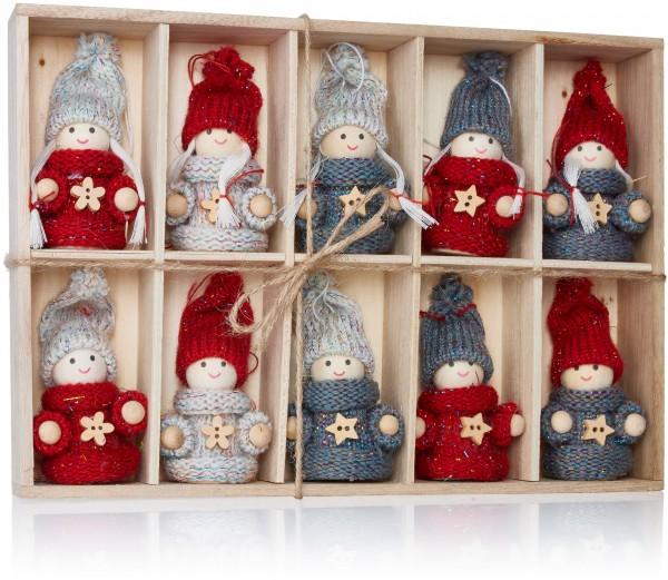 10-teiliges Set Weihnachtswichtel aus Holz und Strick Baumanhänger 8 cm in Geschenkbox