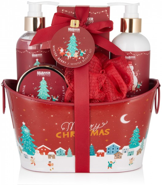 6-tlg. Weihnachts Beauty Set - Winter Berry Duft - in dekorativer Metallwanne