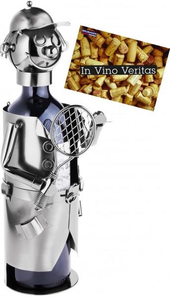 BRUBAKER Flaschenhalter Tennisspieler Metall Skulptur mit Geschenkkarte