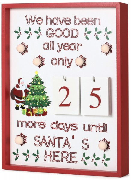 BRUBAKER Weihnachts-Countdown Adventskalender Wandtafel Holz Weiß mit 6 LED Lichtern