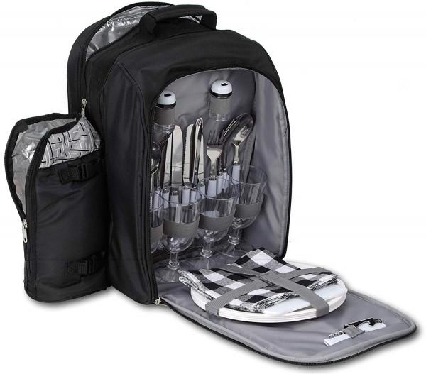 BRUBAKER Picknickrucksack Kühltasche für 4 Personen Schwarz Silber Jacquard mit Flaschenhalter