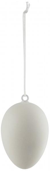BRUBAKER Ostereier 6 cm Kunststoff matt weiß mit Aufhängern - naturgetreue Optik