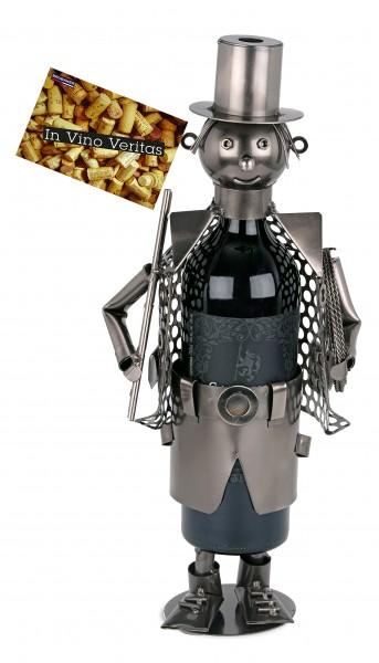 BRUBAKER Flaschenhalter Schornsteinfeger Metall Skulptur Geschenk mit Geschenkkarte