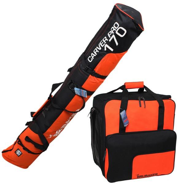 Kombi Set Schwarz Orange - Skitasche und Skischuhtasche für 1 Paar Ski + Stöcke + Schuhe + Helm