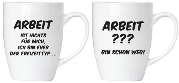 """BRUBAKER """"Arbeit ist nichts für mich"""" Tassen Set aus Keramik - Grußkarte und Geschenkpackung"""