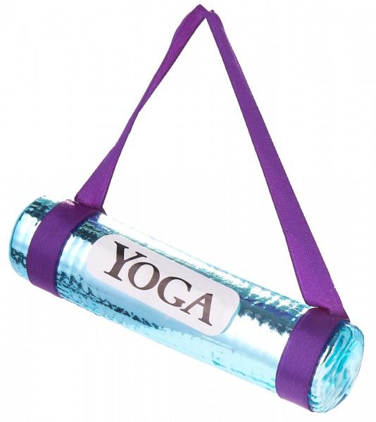 Yoga Matte Blau - Handbemalte Weihnachtskugel aus Glas - Mundgeblasener Christbaumschmuck - 11 cm