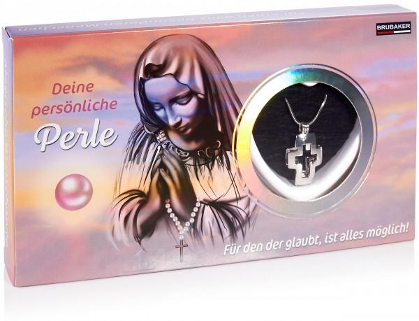 BRUBAKER Glaubens Wunschperle - Halskette mit Kreuz Anhänger + Muschel mit echter Perle
