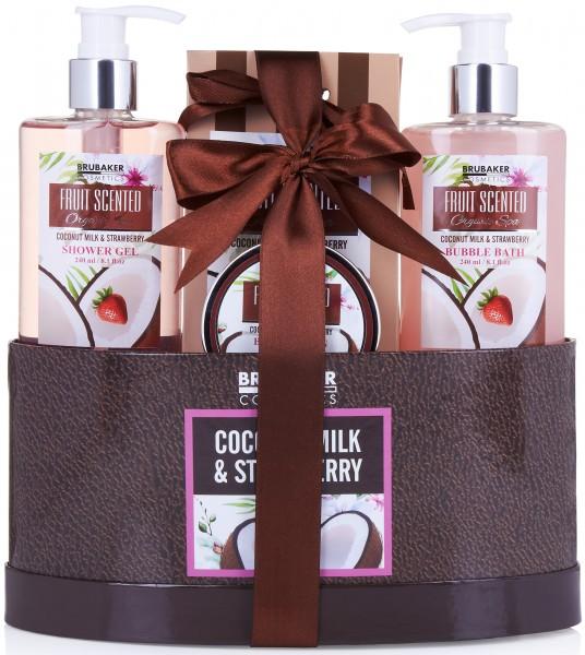 """5-teiliges Bade- und Dusch Set """"Coconut Milk & Strawberry"""" - Kokosnuss und Erdbeer Duft"""