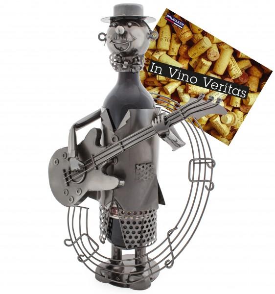 BRUBAKER Flaschenhalter Gitarrist Metall Skulptur mit Geschenkkarte