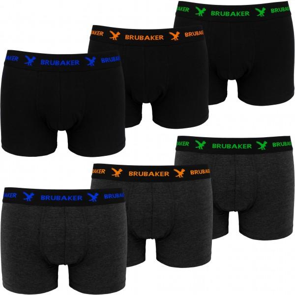 6er Pack Herren Retro Boxershorts - Schwarz, Anthrazit mit farbigen Logos