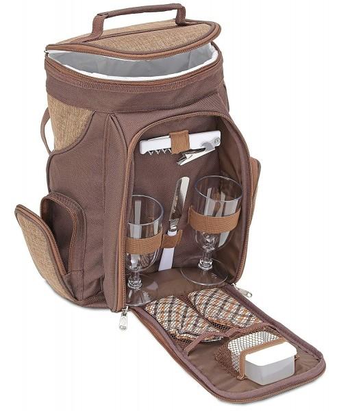 BRUBAKER Wein oder Champagner Picknicktasche Rucksack mit Gläsern für 2 Personen mit Kühlfach
