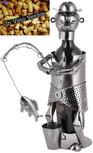 BRUBAKER Flaschenhalter Angler - Flaschenständer aus Metall mit Grußkarte für Weingeschenk