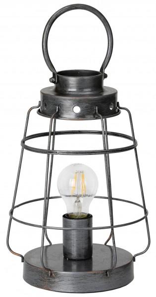 Vintage Tischlampe, Bodenlampe aus Metall - bis zu 41 cm hoch - Silber Grau