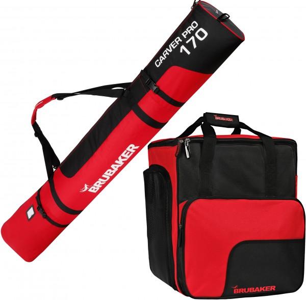 Kombi Set - Skisack mit Schulterträgern & Skischuhtasche für 1 Paar Ski + Stöcke + Schuhe