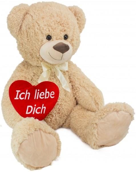 BRUBAKER XXL Teddybär 100 cm groß Beige mit einem Ich liebe Dich Herz Stofftier Plüschtier Kuschelti