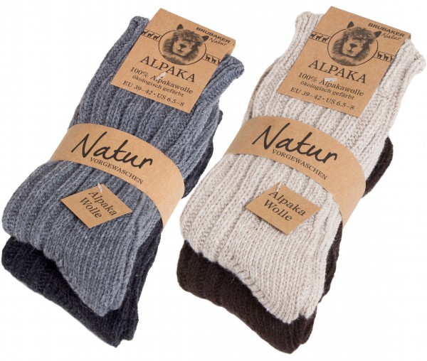 4 Paar dicke flauschige warme Alpaka Socken 100% Alpaka