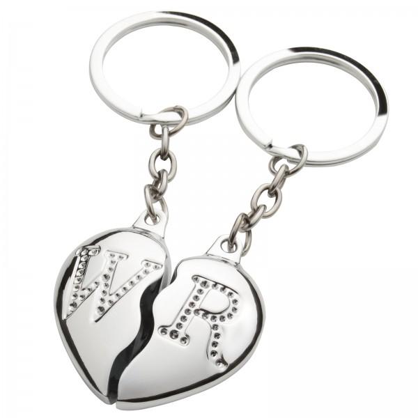 Partner Schlüsselanhänger Geteiltes Herz + Gravur mit Ihren persönlichen Initialen
