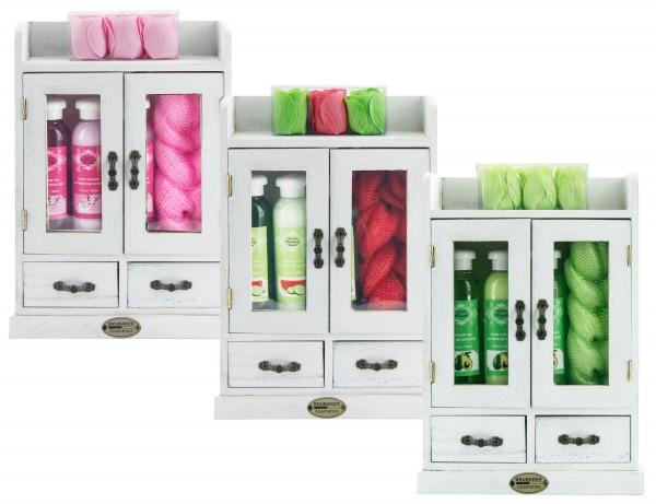 BRUBAKER Cosmetics – Bade-, Dusch- und Beautyset im Vintage Holzschrank - Weiß