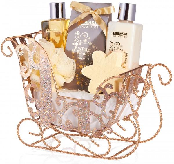 BRUBAKER 6-teilig Pflegeset - Winter Wonder - Beauty Geschenkset mit Vanille Duft - Gold