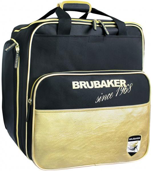 BRUBAKER St. Moritz Skischuhtasche Helmtasche Rucksack-Tragesystem mit Schuhfach - Schwarz Gold