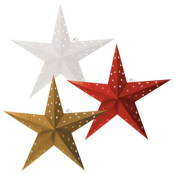 Falt Weihnachtsstern LED, Fotokarton mit Stern Ausschnitten, 60 cm Ø [Energieklasse A++]