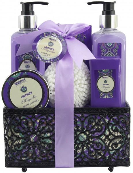 """7-teiliges Bade- und Dusch Set """"Lavender & Magnolia"""" - Lavendel Magnolien Duft - Geschenkset"""