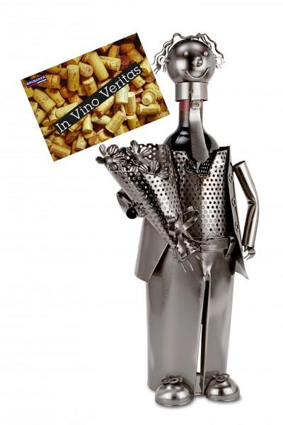 BRUBAKER Flaschenhalter Mann mit Blumenstrauß - Flaschenständer für Wein aus Metall mit Grußkarte