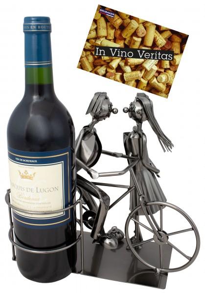 BRUBAKER Flaschenhalter Paar mit Fahrrad - Flaschenständer für Wein aus Metal mit mit Grußkarte