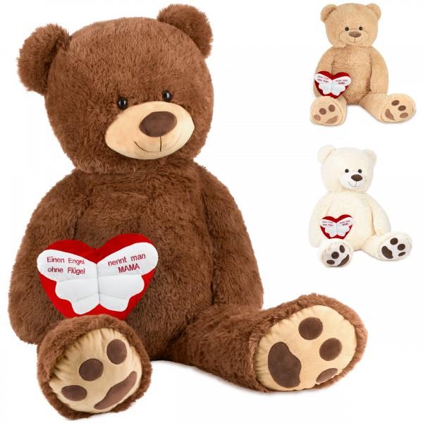 """Teddybär 100 cm mit einem """"Einen Engel ohne Flügel nennt man Mama"""" Herz - Kuscheltier"""