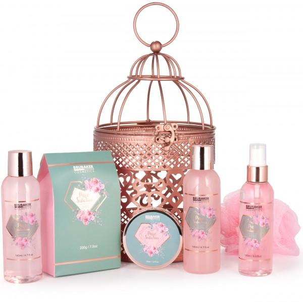 7-teiliges Beauty Geschenkset im orientalischen Windlicht - dekorativer Hängekorb Roségold