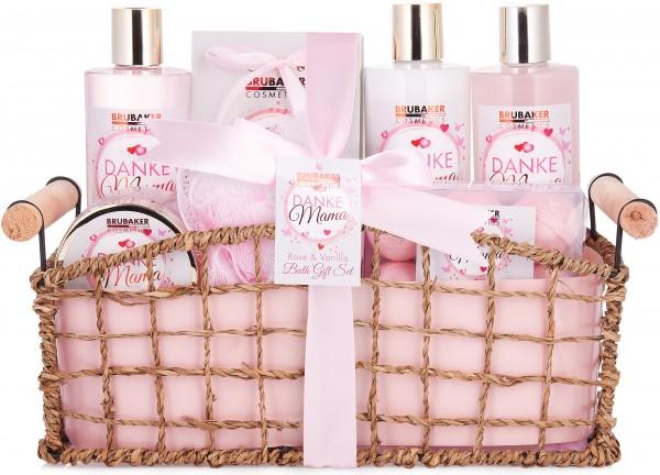 13 tlg. Bade- und Dusch Set - Beautyset - Danke Mama Geschenkset im Korb - Rosen Vanille Duft