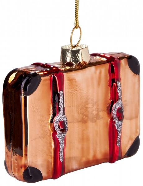 Reisekoffer - Handbemalte Weihnachtskugel aus Glas - Mundgeblasener Christbaumschmuck - 7 cm