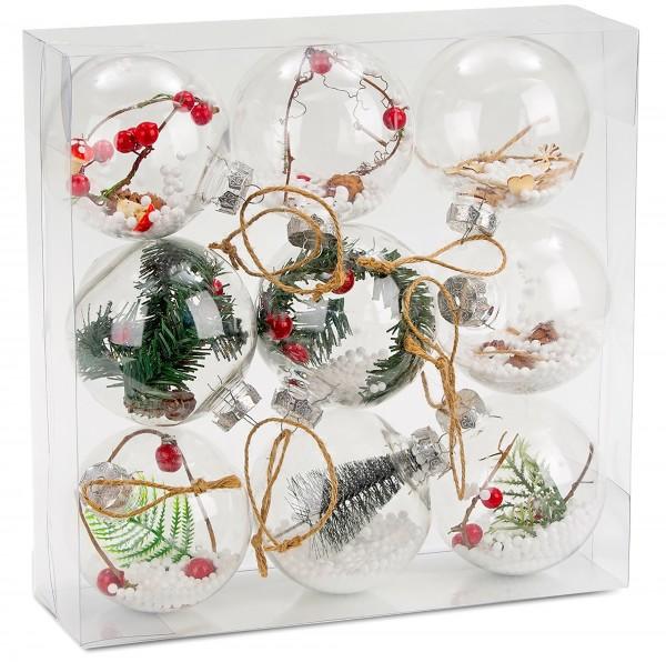 9-teiliges Set Acryl Weihnachtskugeln, Christbaumkugeln - Transparent - Befüllt - Ø 10 cm