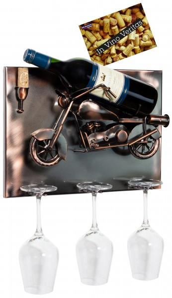 BRUBAKER Wand Flaschenhalter Motorrad - Deko-Objekt für Wein aus Metal mit mit Grußkarte