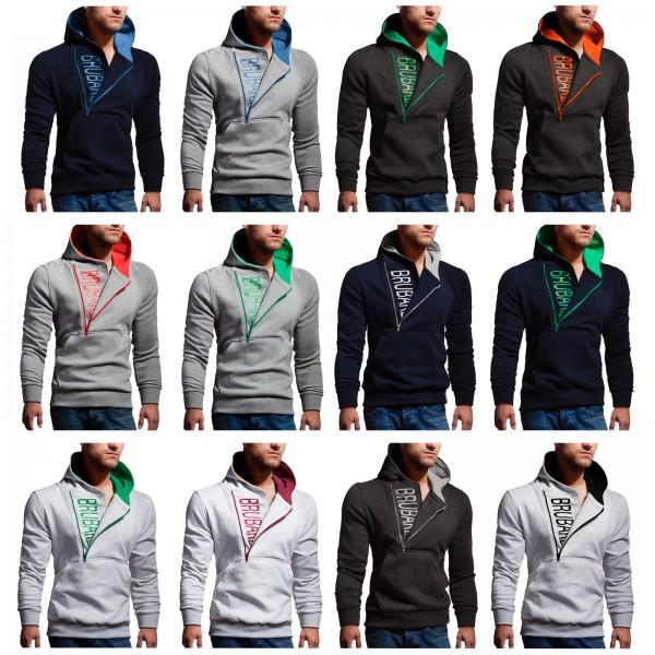 BRUBAKER Herren Label Sweatshirt mit Kapuze