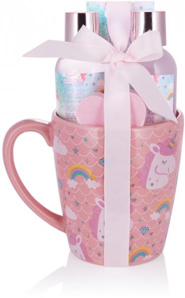 5-tlg. Einhorn Bade- und Dusch Set Cherry Blossom mit Kirschblüten Duft in XXL Einhorn Becher