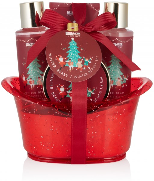 BRUBAKER Cosmetics Bade- und Dusch Geschenkset - 5-teiliges Pflegeset in dekorativer Weihnachtswanne