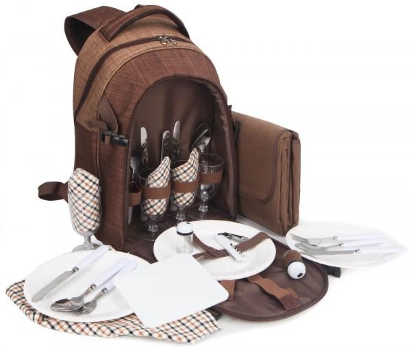 BRUBAKER Picknickrucksack für 4 Personen Braun mit Kühlfach und Picknickdecke